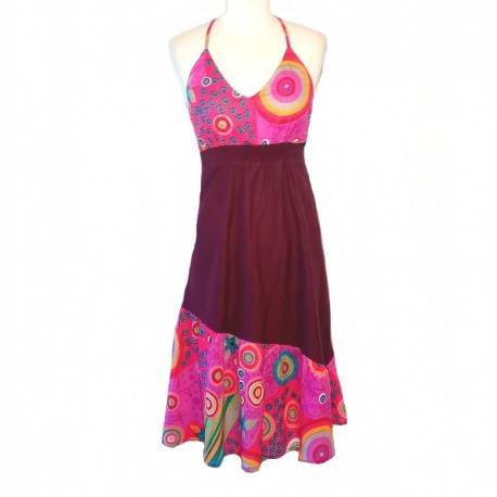 Robe longue ethnique L/42 - Prune et rose