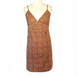 Ethnic short dress XL / 44 - Mustard and fuchsia