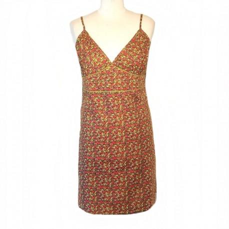 Ethnic short dress XL / 44 - Mustard and fuchsia