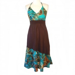 Long ethnic dress L/42 - Brown, turquoise and green