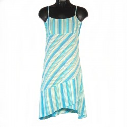 Light Blue striped asymmetrical short dress - Different Sizes