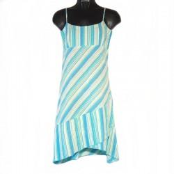 Robe courte asymétrique rayée bleu clair - Taille XS