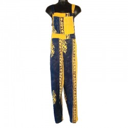Overalls in rayon size M yellow and blue with design