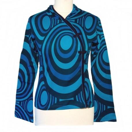 Tee shirt en coton manches longues - Bleu turquoise