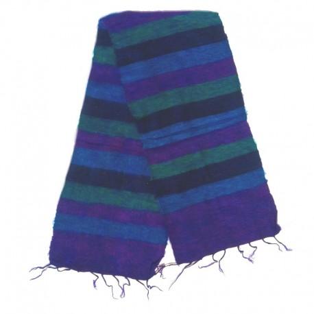 Striped wool scarf Yak 150x30 cm - Model 54