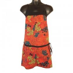 Robe combishort S/M - Orange imprimé floral