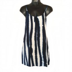 Robe courte Tie and Dye XS/36 - Blanc-bleu