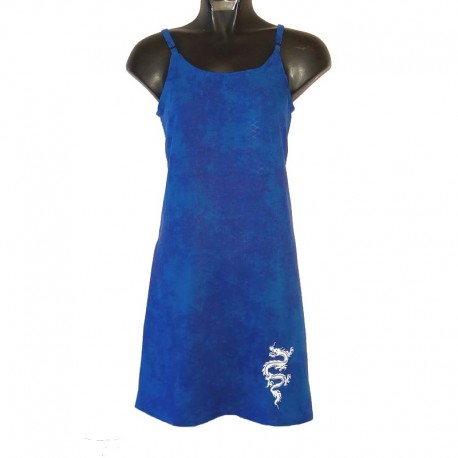 Short dress with adjustable straps - MOD01 - Blue with white dragon on the bottom