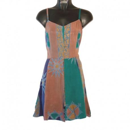 Robe bretelles combishort S - Bleu/marron clair