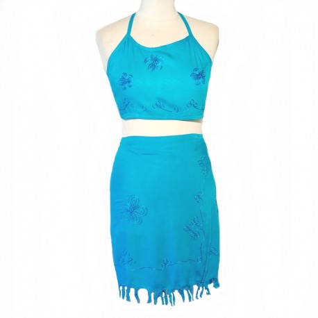 Embroidered skirt and top - Turquoise