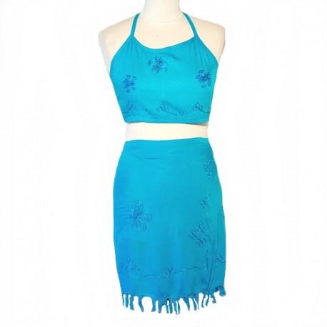 Jupe et top brodés - Bleu turquoise