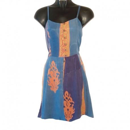 Robe bretelles combishort S - Bleu clair et marron