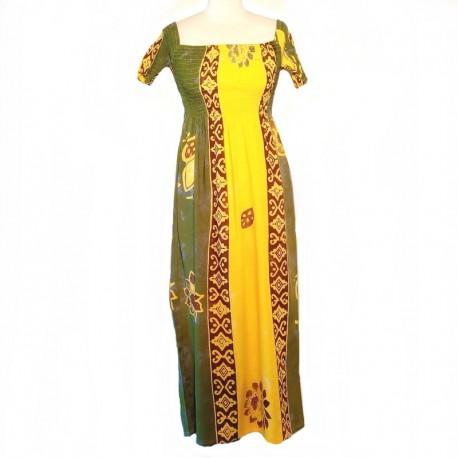 Robe longue haut smocké - Jaune, vert et marron