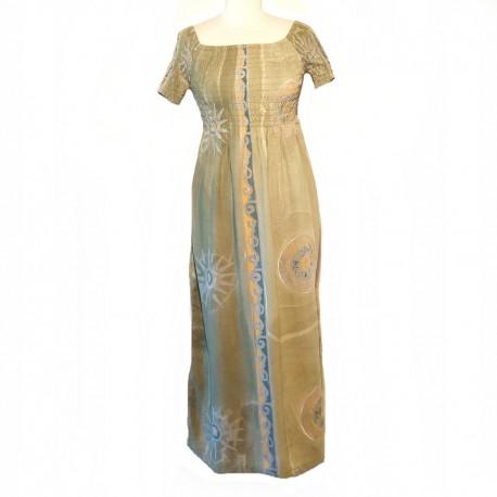Long smocked top dress - Beige green and orange