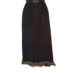 Straight skirt size L - Black with design