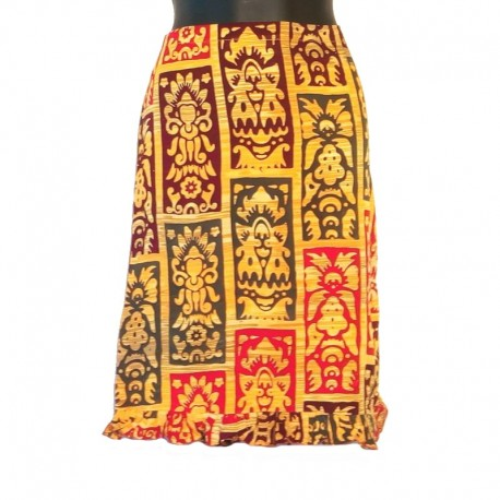 Straight skirt size L - Green, red and maroon design