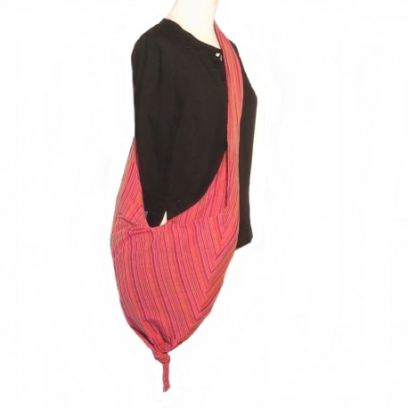 Sac bandoulière pointe en coton rose