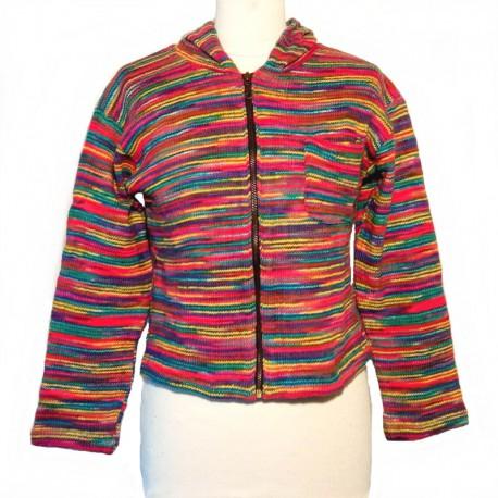 Gilet capuche en coton multicolore