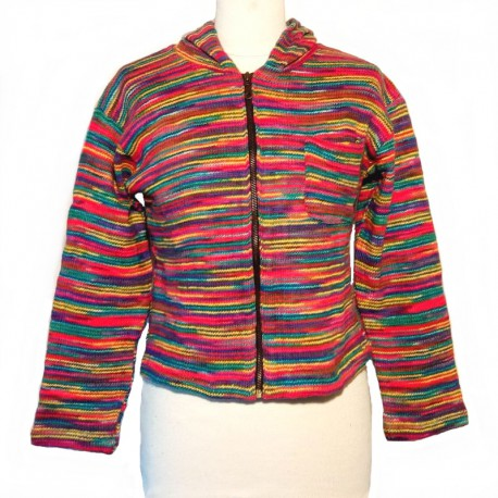 Hooded jacket in multicolored cotton