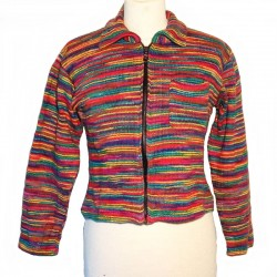 Gilet ethnique en coton multicolore