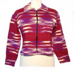 Gilet ethnique en coton bordeaux et violet
