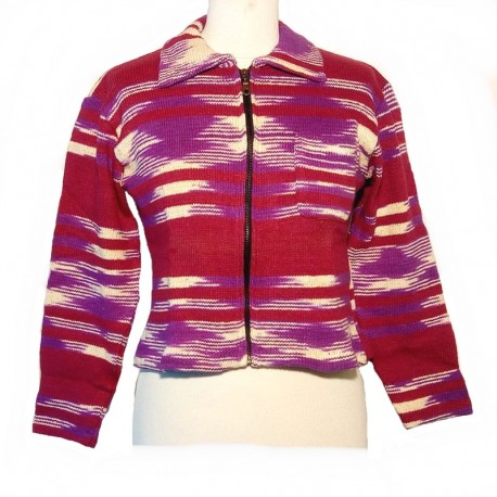 Ethnic vest in maroon and purple cotton