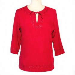 Short embroidered tunic - Size L - Maroon