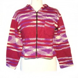 Hooded jacket in cotton - Maroon, purple and cream