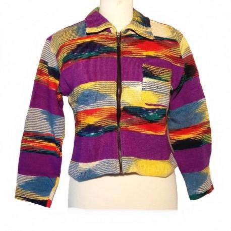 Gilet ethnique en coton violet, crème et rouge