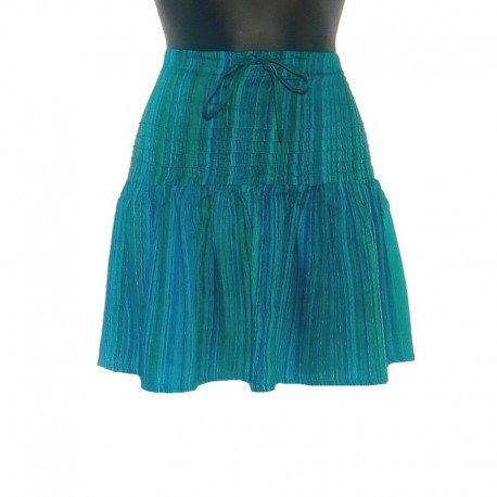 Rayon short skirt free size - Blue-green