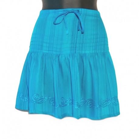 Jupe courte en rayonne et broderie - TU - Bleu turquoise, broderie bleu clair