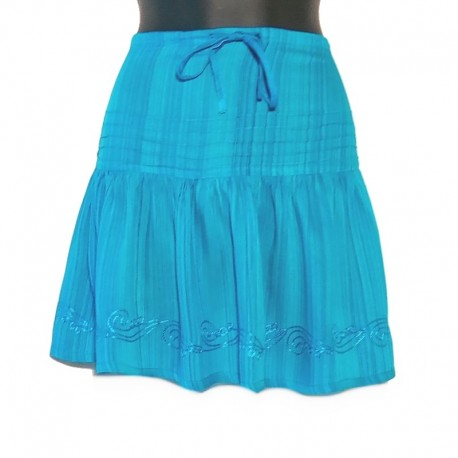 Rayon short skirt with embroidery - free size - Turquoise with blue embroidery