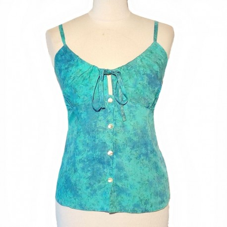 Rayon top with straps and buttons - Light blue