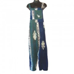 Dark blue and green rayon overalls size M