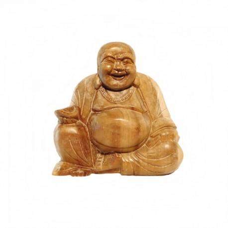 Light wood happy Buddha H17 cm