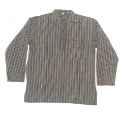 Striped cotton shirt S - Gray and black