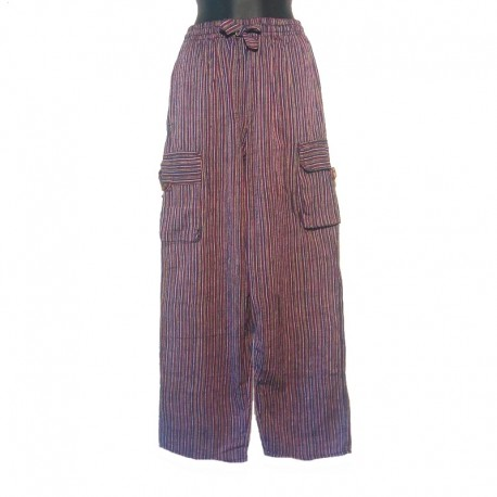 Striped cotton Nepal trousers - XS/S size - Blue, maroon and golden