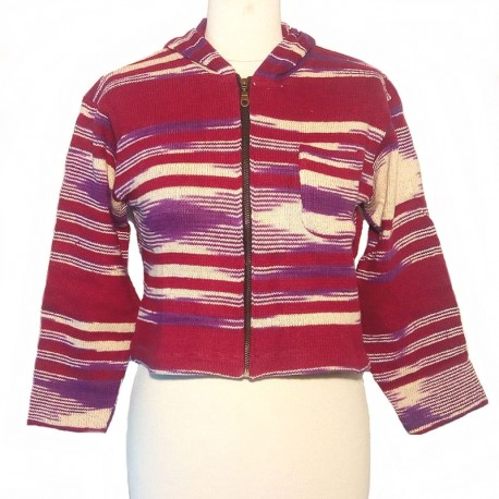 Hooded jacket in maroon and purple cotton