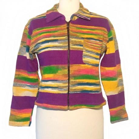 Gilet ethnique en coton violet, jaune et vert