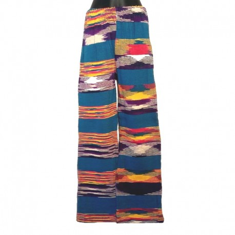 Ethnic cotton pants - Model 1 - Blue, purple and white