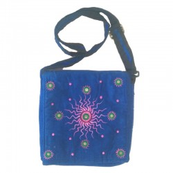 Blue cotton shoulder bag with pink and green sun design