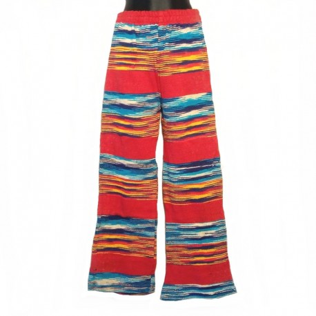 Ethnic cotton pants S/M - Model 1 - Red, blue and orange