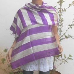 Raw silk scarf - Purple and silver
