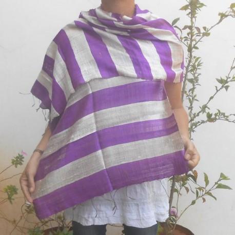 Raw silk scarf - Purple and silver