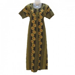 Indian housedress - Dark green, yellow and red
