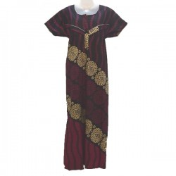 Nursing dress and housedress in cotton - Black, purple and beige