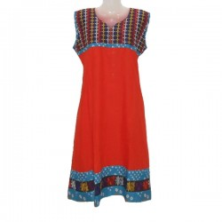 Dress size 10 us - Cotton and embroidery - Orange and blue