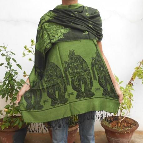 Echarpe coton, lin et viscose - Krishna - Vert clair